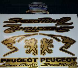 Peugeot Speedfight 2 Sticker/Decal Set  *GOLD & BLACK* 50, 70, 100, speedy pug
